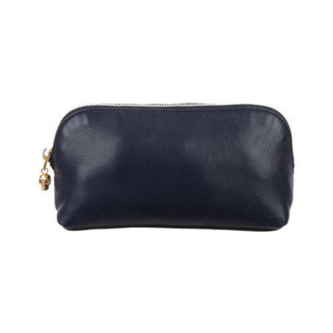 Item - Navy Pouch Leather Cosmetic Bag