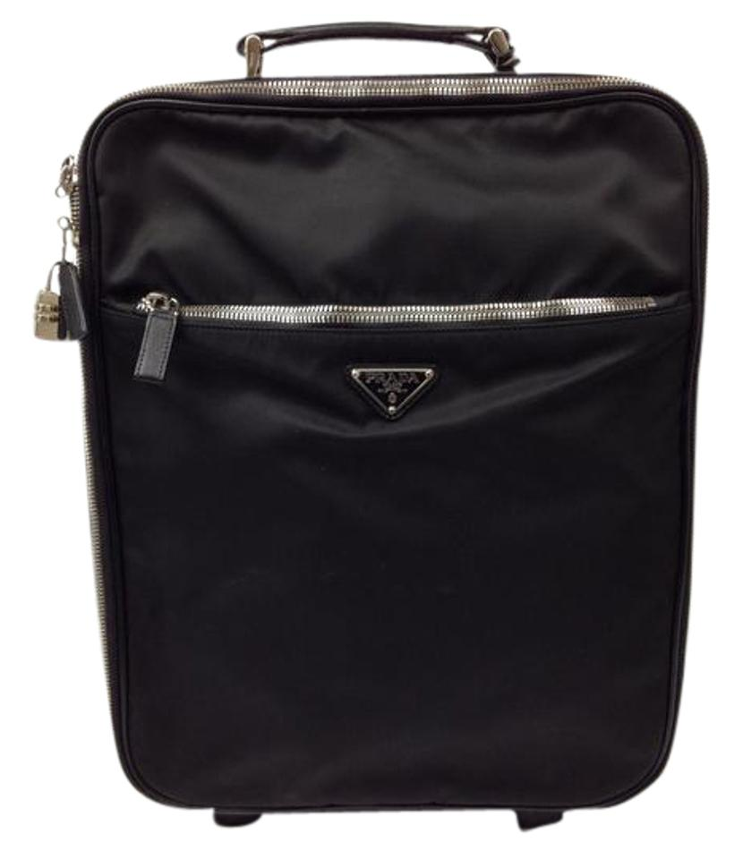 Prada Suitcase Carry-on Black Nylon Saffiano Leather Weekend Travel ... 467da3d125304
