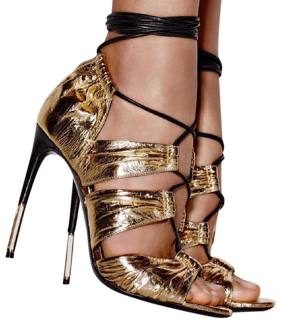 Item - Gold Laminated Leather Lace-up Sandals Size EU 38 (Approx. US 8) Regular (M, B)