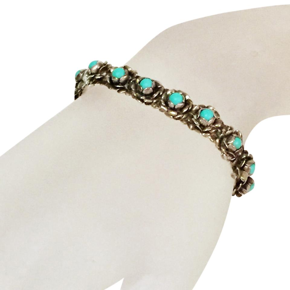 Silver Vintage Zuni Style Native American Floral Turquoise Cuff