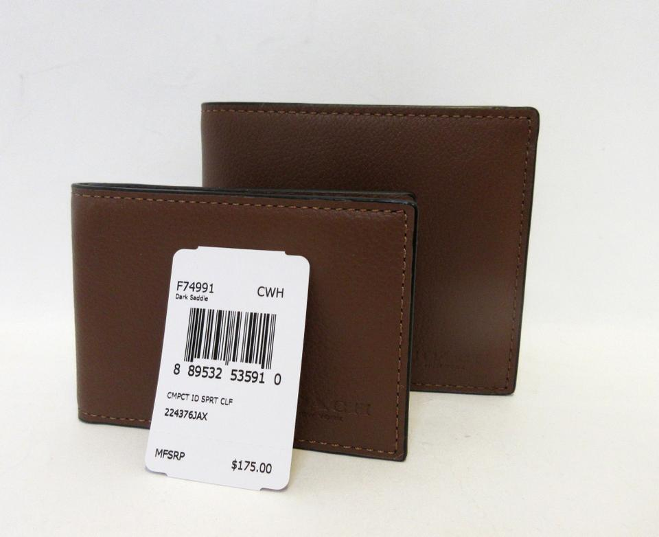 a84e7c3072fb Coach Coach Compact ID Sport Calf Leather Wallet F74991 Image 8. 123456789