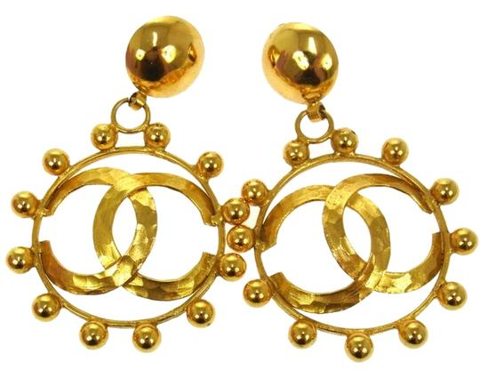 Chanel CHANEL LOGO HOOP EARRINGS