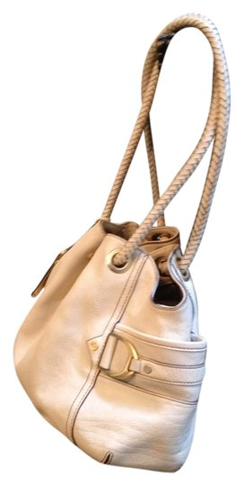 Cole Haan Leather Buckle Woven Well Made Pebbled Gold Tone Hardware Double Woven Handle Buckle And Stud Details Shoulder Bag