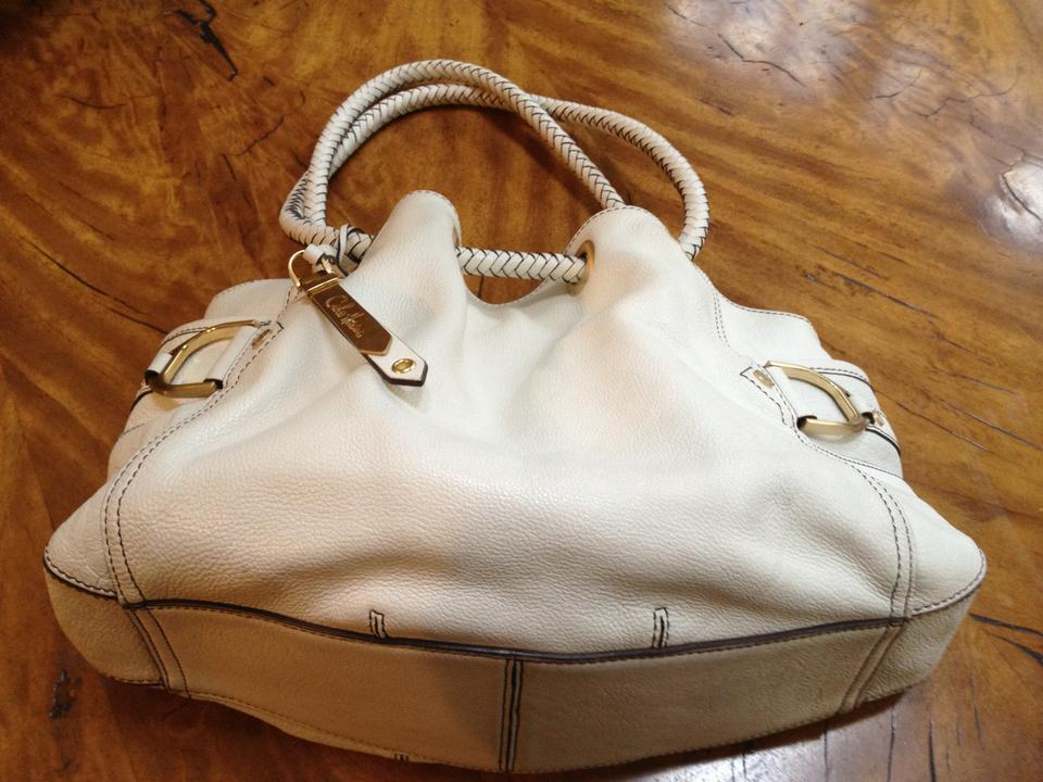 Cole Haan Buckle Well Made Tone Hardware Double Handle Stud Off White Cream Pebbled And Woven Leather Shoulder Bag Tradesy