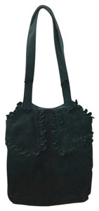 Lucky Brand Leather Ruffled Tote in Turquoise