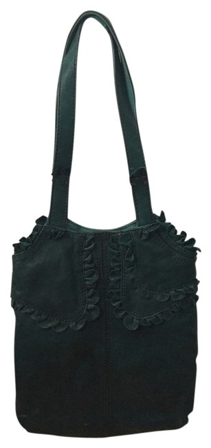 Item - Ruffled Turquoise Leather Tote