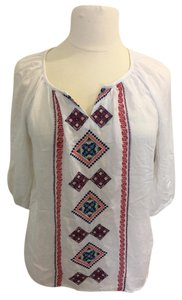 Passport Embroidered Boho Peasant Aztec White Top