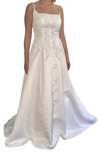 Mori Lee White Satin Strapless A-line with Embroidered Rhinestone Detail Wedding Dress Size 8 (M)