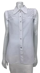 Carven Eyelet Sleeveless White Top