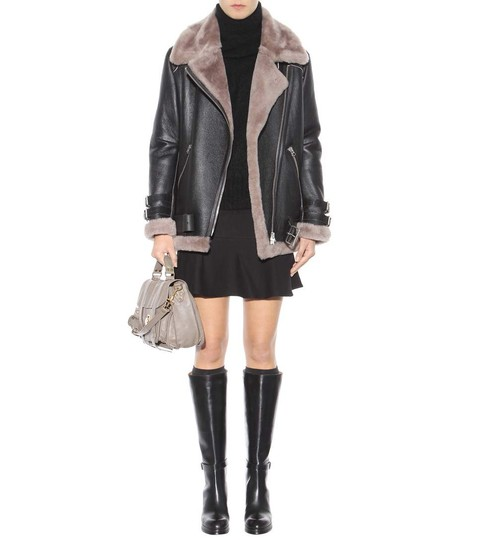 Acne Studios Knee High Leather Black Boots Image 2