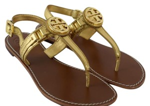 Tory Burch Gold Cassia Flat Thong Sandals Size Us 7.5 Regular M B Tory Burch Cassia Sandals Shoes