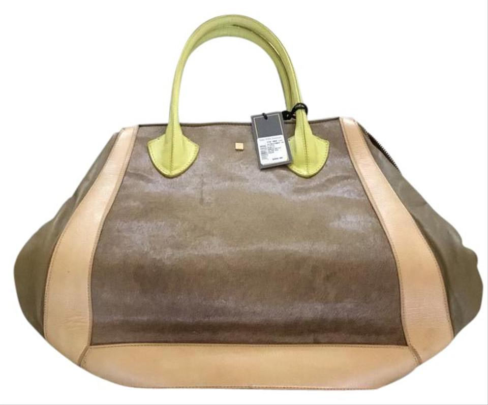 a272eb709f Pour La Victoire Plv Leather Pony Hair Collection Designer Tote in Olive  green and light ...