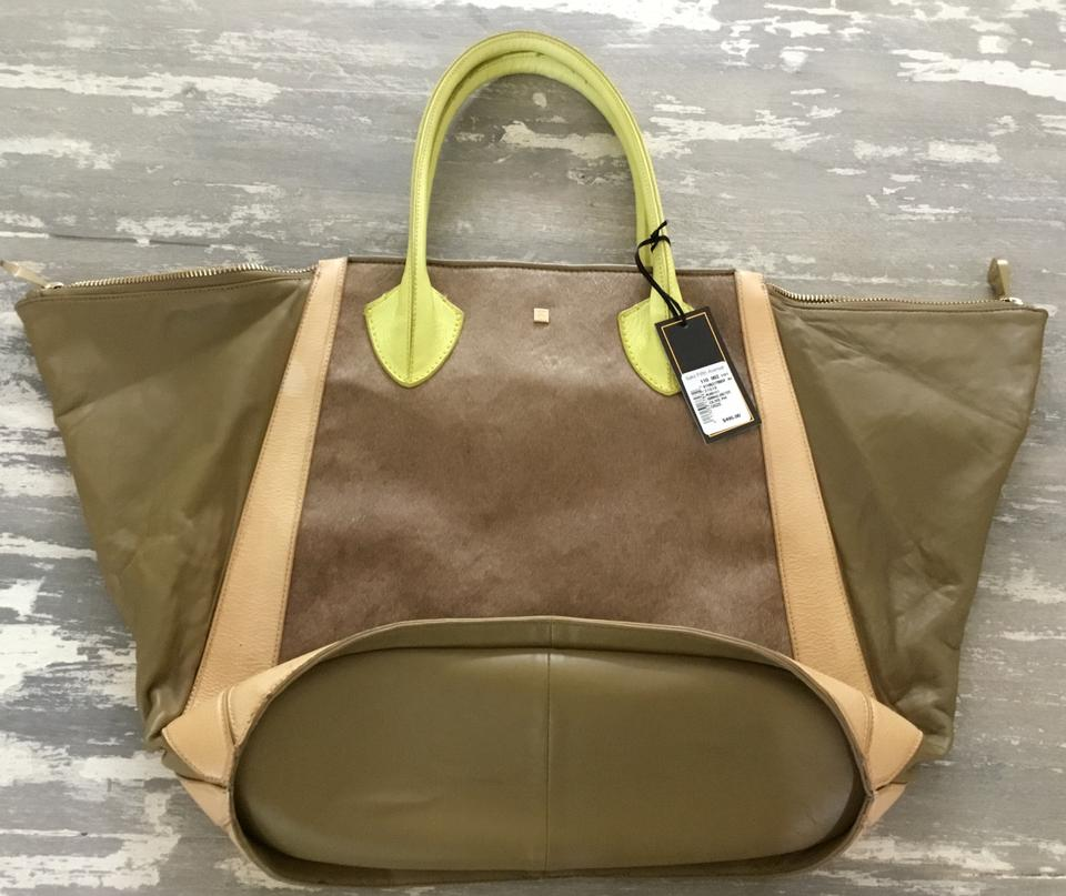 8ae28f1766 Pour La Victoire Plv Large Tote Sachel Olive Green and Light Brown ...