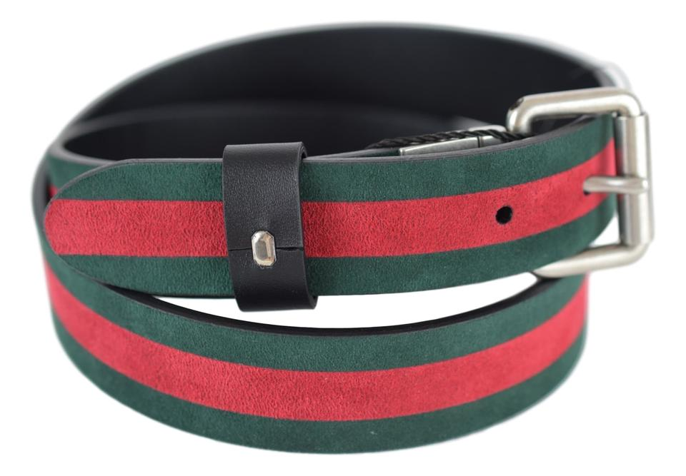 75060b663cd Gucci Red Green Black 387035 Reversible Leather and Web 90-36 Belt ...