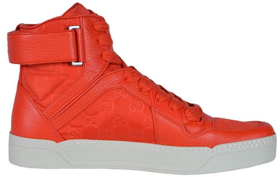 fdb28a146 Gucci Red New Men's Nylon Leather Gg Guccissima High Top Sneakers ...