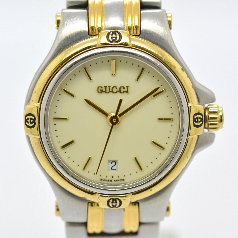 141ce4cace9 Gucci Silver and Gold Pre-owned 9040l Date Two-tone Quartz For Women Watch  - Tradesy