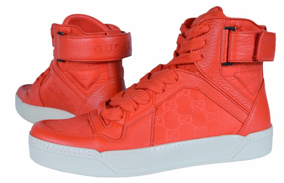 2b759544499 Gucci Red New Men s Nylon Leather Gg High Top Sneakers 6.5g Sneakers ...