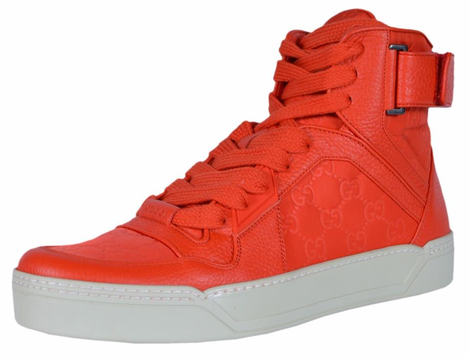 7820adbdd3a Gucci Red New Men s Nylon Leather Gg High Top Sneakers 6.5g Sneakers Size US  7.5 Regular (M