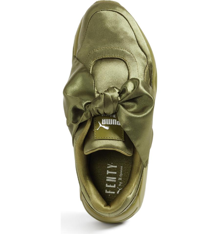 newest 7a1af da6aa Olive Green Bow Sneakers