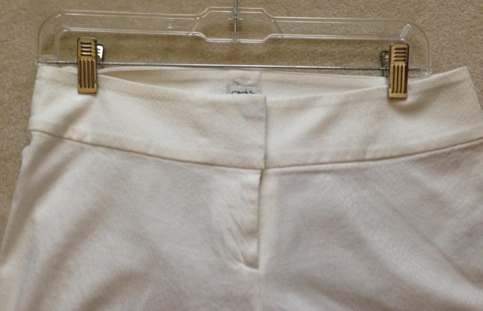 cache white textured fabric slax with waist band wide leg pants size
