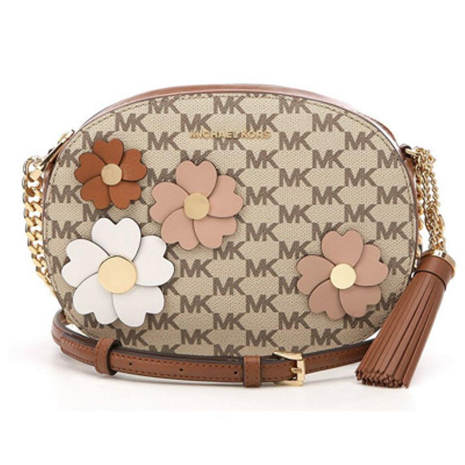 326259e71163 MICHAEL Michael Kors Flora Applique Ginny Medium Messenger Natural    Luggage Coated Canvas   Leather Cross Body Bag