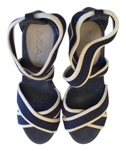 Mia Shoes Platform Navy and cream stripe Wedges
