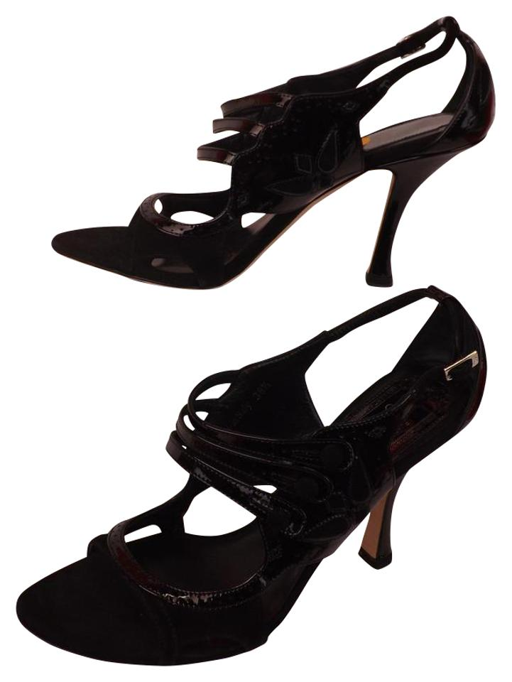 9b60db2a0ce Dior Black Patent Leather Suede Strappy Sandals 11 Pumps Size EU 41 ...