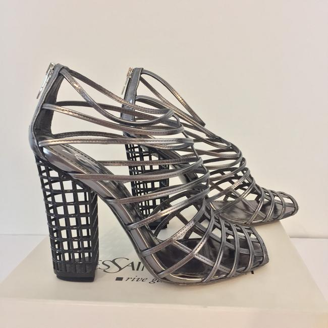 Item - Black Patten Leather And Rare Ysl Cage Booties In Anthracite and Silver Formal Shoes Size US Regular (M, B)