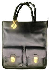 Charles Jourdan Leather Logo Tag Satchel Gold Hardwre Tote in Black