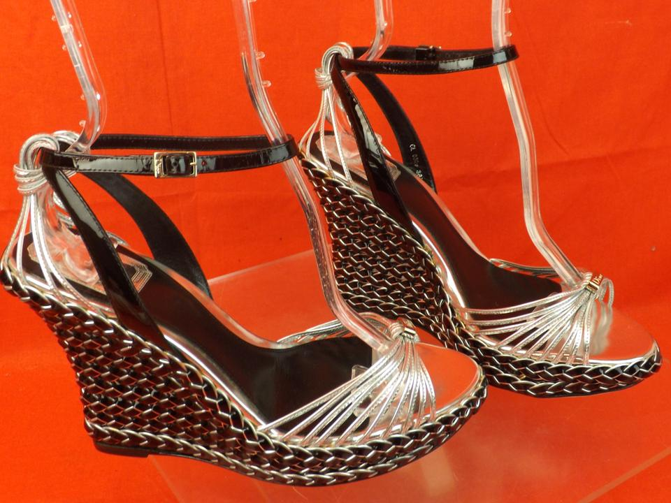 44b23c00bc4394 Dior Silver and Black Tone Patent Leather Braided Sandals 8.5 Wedges ...