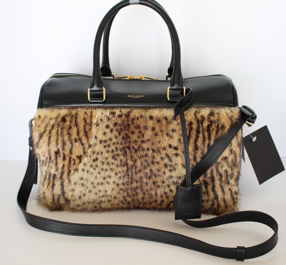 51fb73c10c9 Saint Laurent New Yves Leopard Handbag Paris Duffel Fur Brown Leather  Shoulder Bag - Tradesy