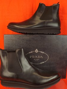 Prada Black Mens Chelsea Leather Elasticized Ankle Boots 9 10 Shoes
