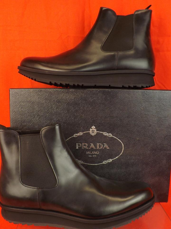 7fc1bebf61a Prada Black Mens Chelsea Leather Elasticized Ankle Boots 9 Us 10 Shoes 50%  off retail