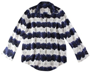 Mother of Pearl Floral Silk Top Blue, White