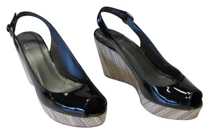 Stuart Weitzman Size 6.00 Narrow Patent Leather Padded Footbed Very Good Condition Black, Neutral Wedges