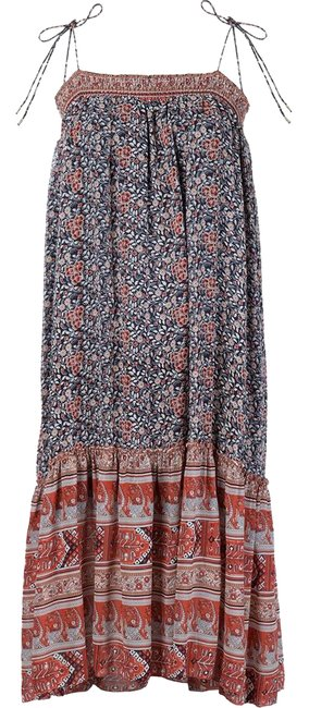 Item - Navy Rust & Ivory Floral Print Silk Imane Midi Mid-length Short Casual Dress Size 8 (M)