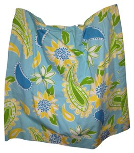 Lilly Pulitzer Traditional Designer Fun Pattern Fully Lined Green Casual Pattern Knee Length Summer Light Bright Skirt Blue yellow white