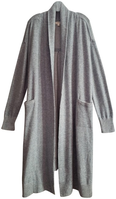Item - Light Grey Wool Cashmere Blend Duster Open Front with Pockets Cardigan Size 4 (S)