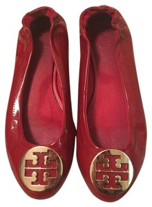Tory Burch Red and Gold Flats