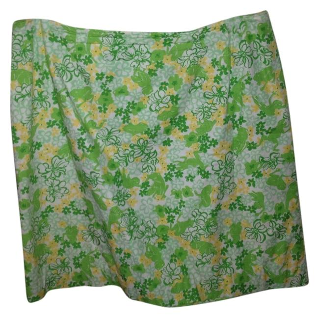 Lilly Pulitzer Designer Casual Green Yellow Above Knee Traditional Summer Green Yellow White Knee Length Above Knee Cotton Skirt