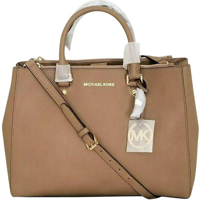 Item - Sutton Large (New with Tags) Dark Khaki Tan/Gold Hardware Saffiano Leather Satchel