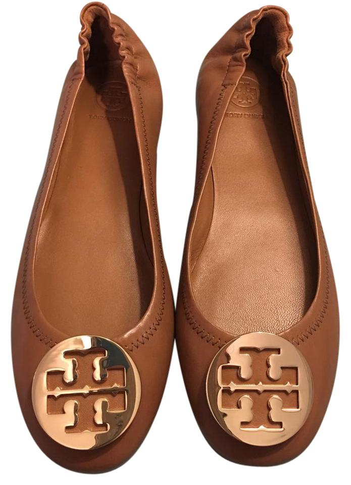 9eae1ce27e46 Tory Burch Royal Tan Minnie Travel Ballet Flats Size US 9 Regular (M ...