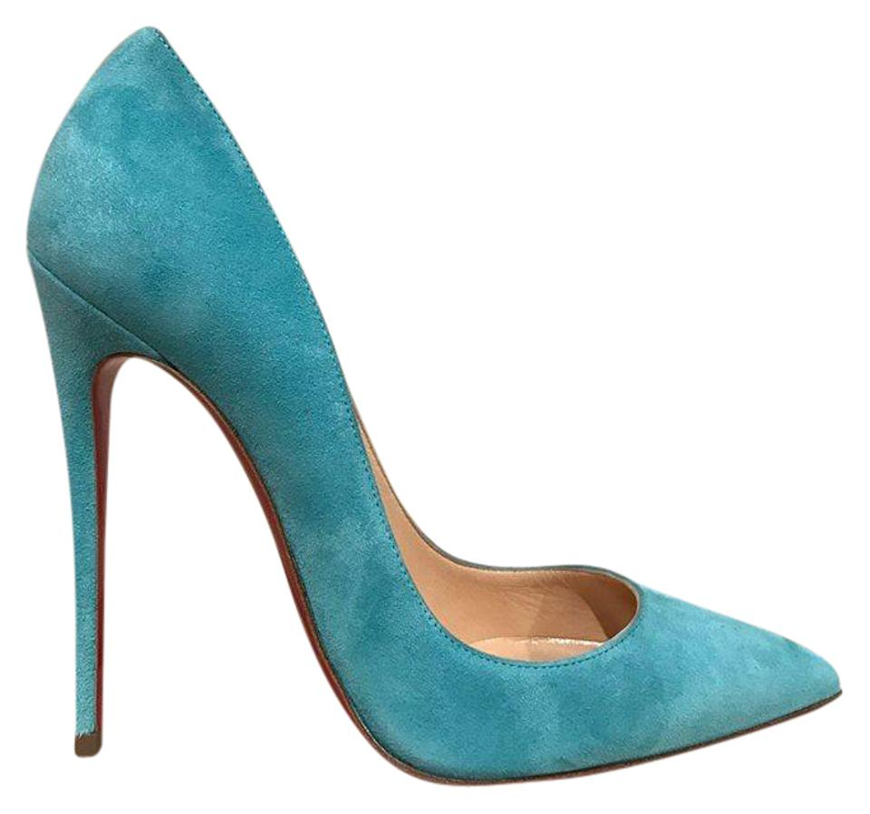 8901b713e5eb2d Christian Louboutin Blue So Kate 120 Source Light Suede Heel 34.5 Pumps