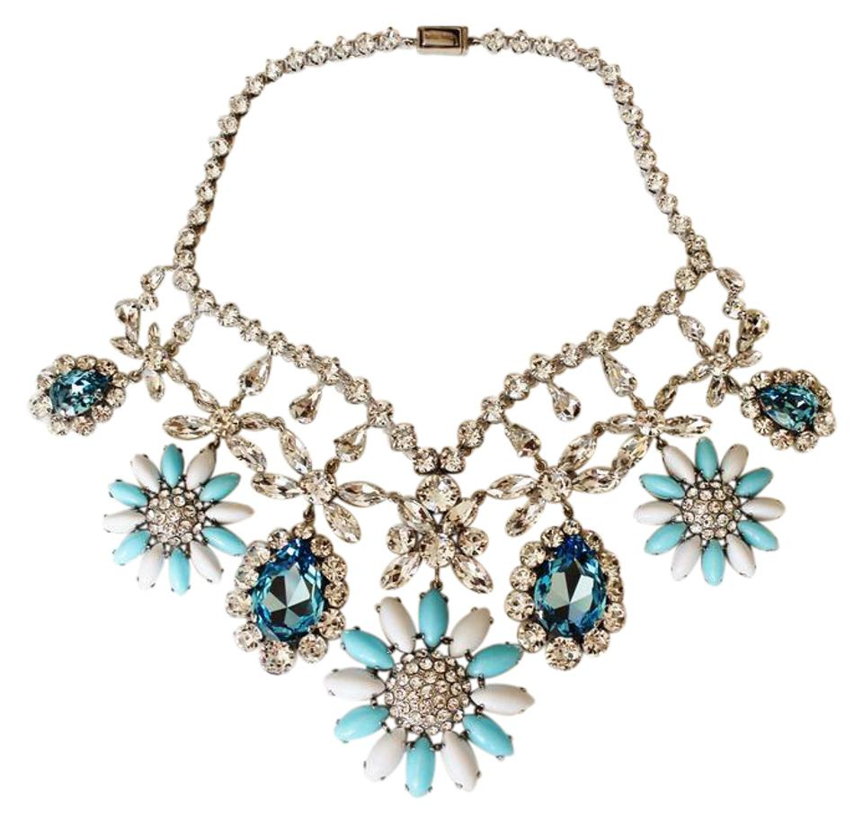 826c19e961b9 Miu Miu NEW! Blue Crystal Floral Bib Necklace (Silver-Tone) White  Aquamarine ...