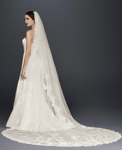 David's Bridal White Long Cathedral with Sequined Lace Appliques Bridal Veil
