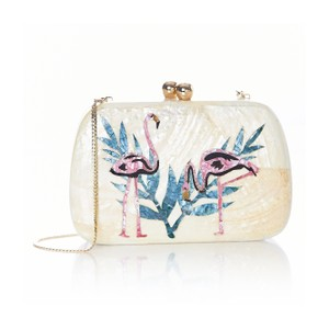 Anthropologie Kate Spade Flamingo Zara White Clutch