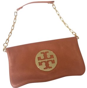 Tory Burch luggage leather with gold logo and strap Clutch