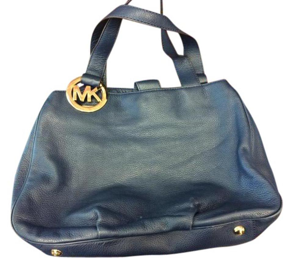 8d4cf0c17b2d Michael Kors Mk Large Fulton Tote/Shopper Navy Blue Leather Tote ...