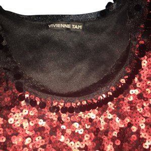 Vivienne Tam Sleeveless Designer Top Black with red sequins