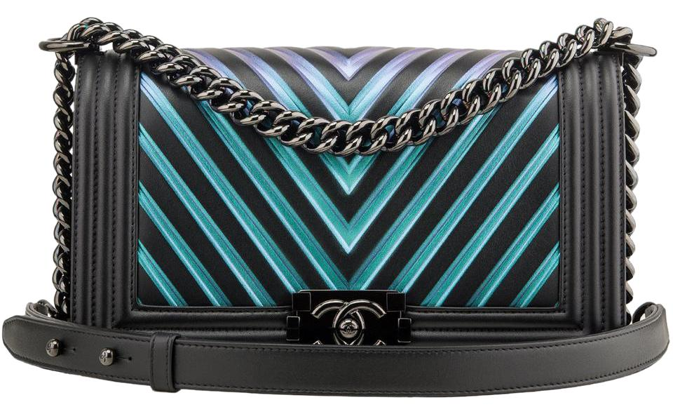 a1d8ee6ea7179f Chanel Boy Painted Chevron Iridescent Calfskin Medium Black Leather ...